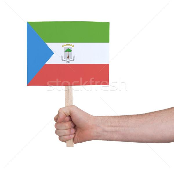 Mão pequeno cartão bandeira Guiné Equatorial Foto stock © michaklootwijk