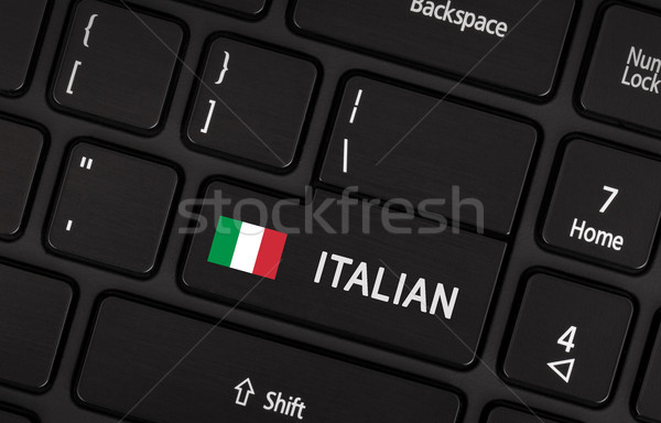 Enter button with flag Italy - Concept of language Stock photo © michaklootwijk