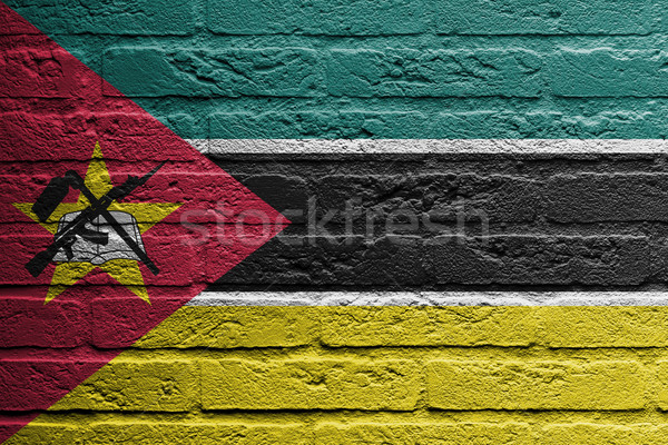 Brick wall with a painting of a flag, Mozambique Stock photo © michaklootwijk