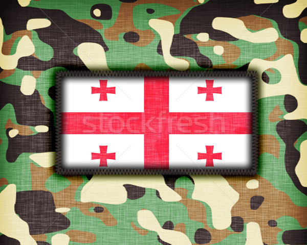 Kamuflaż uniform Gruzja banderą tekstury streszczenie Zdjęcia stock © michaklootwijk