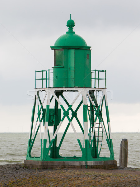 Groene licht baken nederlands haven zee Stockfoto © michaklootwijk