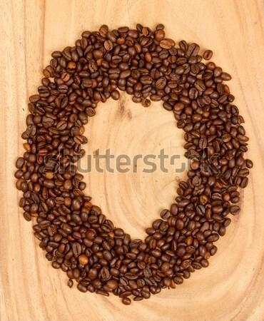 O betű szám ábécé kávé izolált fa Stock fotó © michaklootwijk