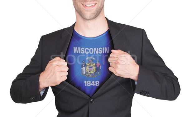 üzletember nyitás öltöny póló zászló USA Stock fotó © michaklootwijk