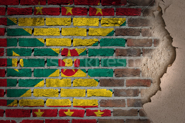 Oscuro pared de ladrillo yeso Granada textura bandera Foto stock © michaklootwijk