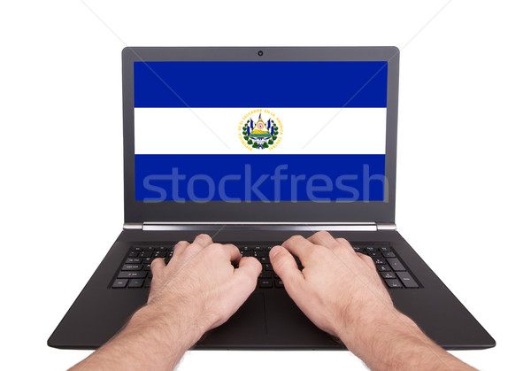 Hands working on laptop, El Salvador Stock photo © michaklootwijk