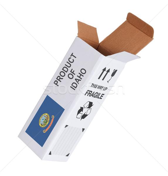 Exportar produto Idaho papel caixa Foto stock © michaklootwijk