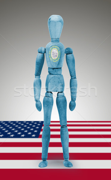Wood figure mannequin with US state flag bodypaint - South Dakot Stock photo © michaklootwijk