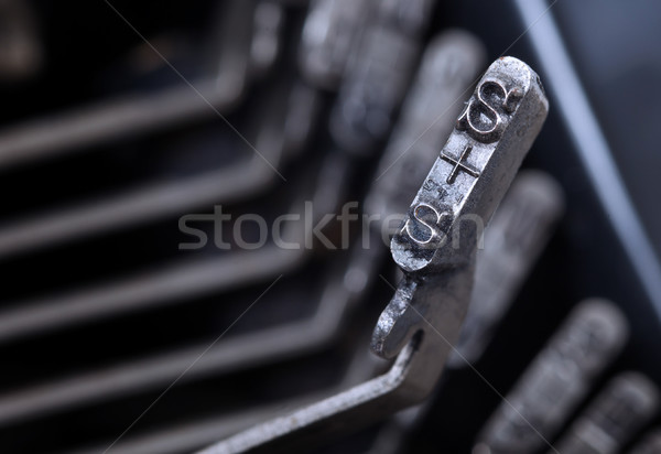 Stock photo: S hammer - old manual typewriter - cold blue filter