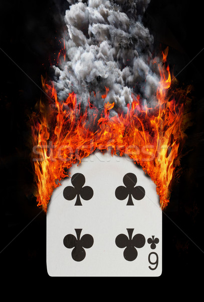 Stock photo: Playing card with fire and smoke