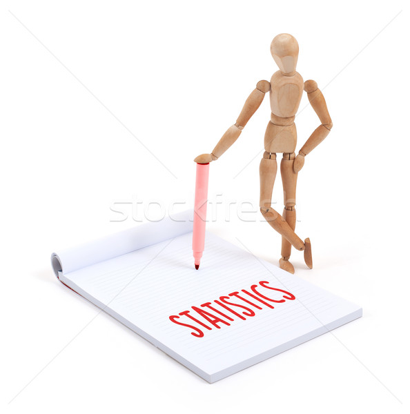 Ahşap manken yazı istatistik karalama defteri kâğıt Stok fotoğraf © michaklootwijk