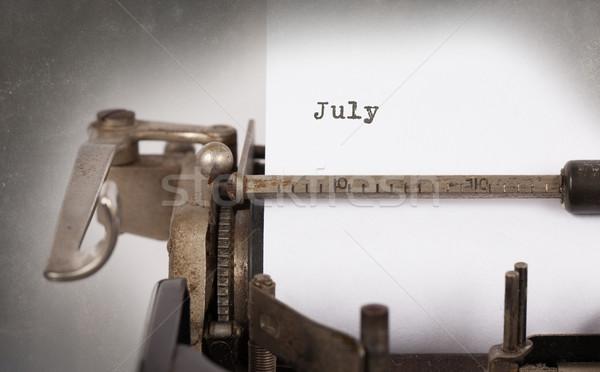 Stockfoto: Oude · schrijfmachine · vintage · opschrift · papier · tijd