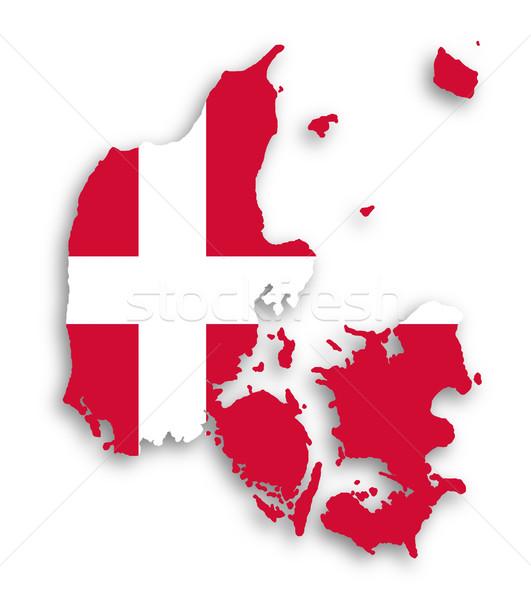 Kaart Denemarken vlag textuur aarde witte Stockfoto © michaklootwijk