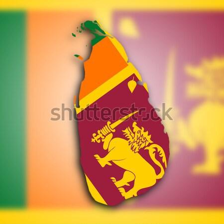 Térkép Sri Lanka történelem árnyék szalag forma Stock fotó © michaklootwijk