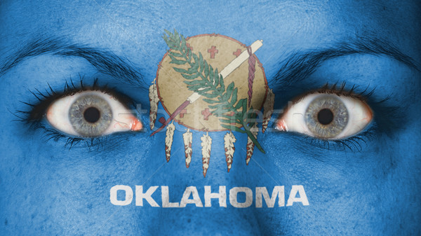 Olhos bandeira pintado cara Oklahoma Foto stock © michaklootwijk