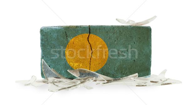 レンガ 割れたガラス 暴力 フラグ パラオ 壁 ストックフォト © michaklootwijk