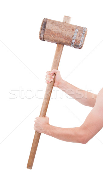 Man with very old wooden hammer isolated  Stock photo © michaklootwijk