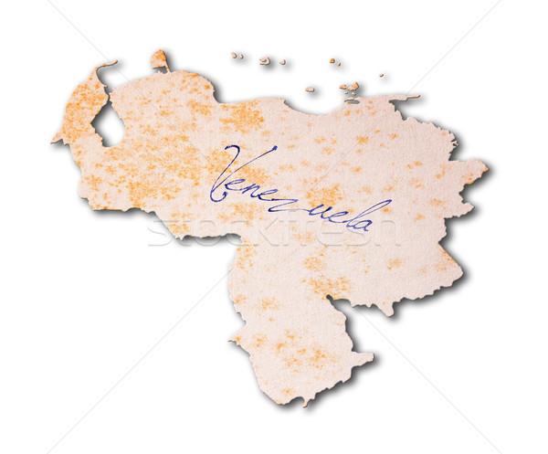 Régi papír kézírás Venezuela kék tinta papír Stock fotó © michaklootwijk