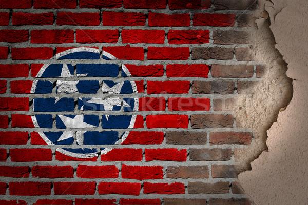 темно кирпичная стена штукатурка Теннесси текстуры флаг Сток-фото © michaklootwijk