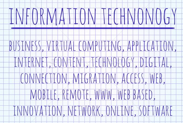 Informatika szófelhő írott darab papír internet Stock fotó © michaklootwijk