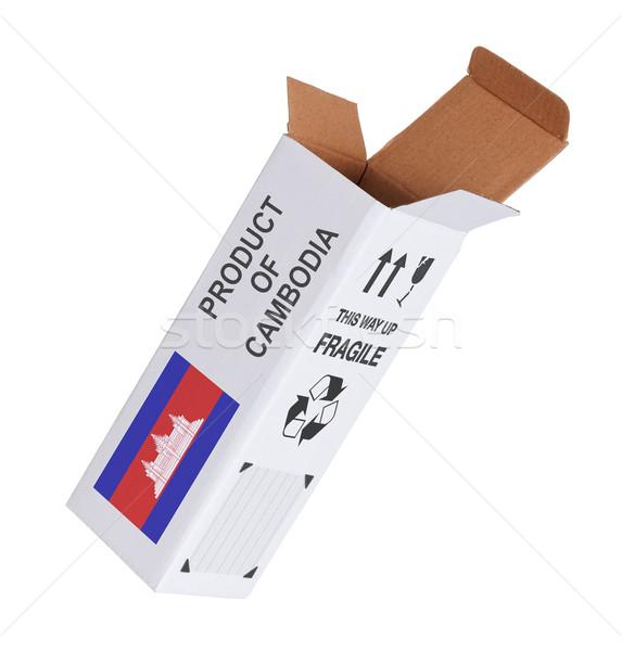 Exporter produit Cambodge papier boîte Photo stock © michaklootwijk