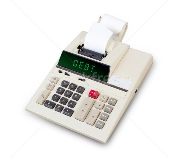 Velho calculadora dívida texto exibir Foto stock © michaklootwijk