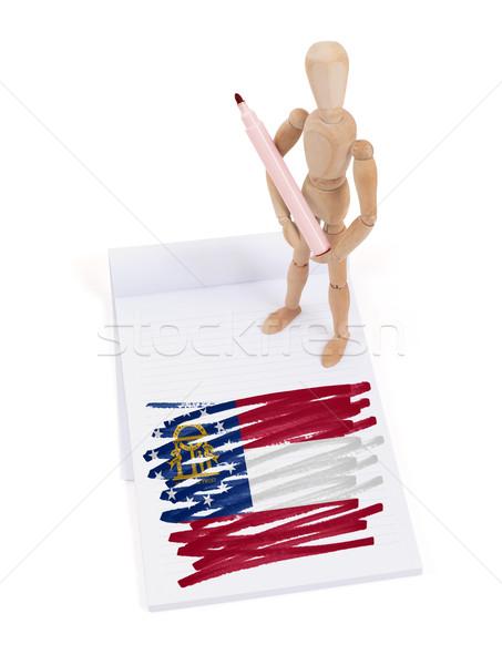 Legno mannequin disegno Georgia bandiera corpo Foto d'archivio © michaklootwijk
