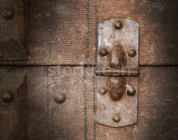 Old canvas trunk hinge close up Stock photo © michaklootwijk