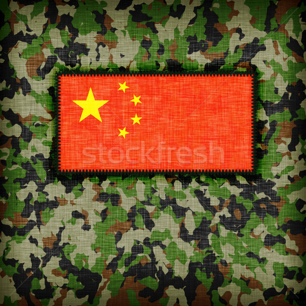 Camouflage uniform China vlag textuur abstract Stockfoto © michaklootwijk