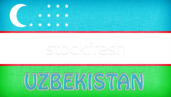 Vászon zászló Üzbegisztán levelek levél szövet Stock fotó © michaklootwijk