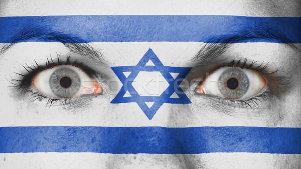 Stockfoto: Ogen · vlag · geschilderd · gezicht · Israël