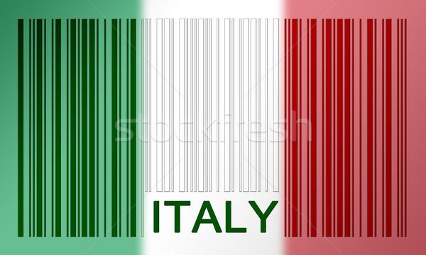 Vonalkód zászló Olaszország festett felület terv Stock fotó © michaklootwijk