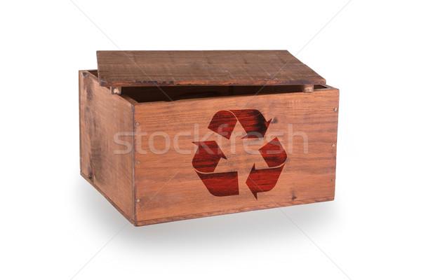 Stock fotó: Fából · készült · láda · izolált · fehér · újrahasznosít · szimbólum