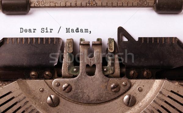Jahrgang Inschrift alten Schreibmaschine schriftlich Schreiben Stock foto © michaklootwijk