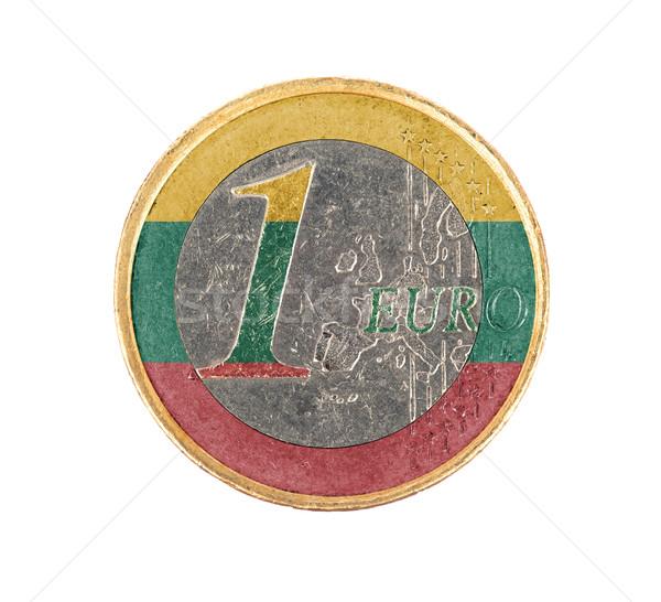 Stock fotó: Euro · érme · izolált · fehér · zászló · Litvánia