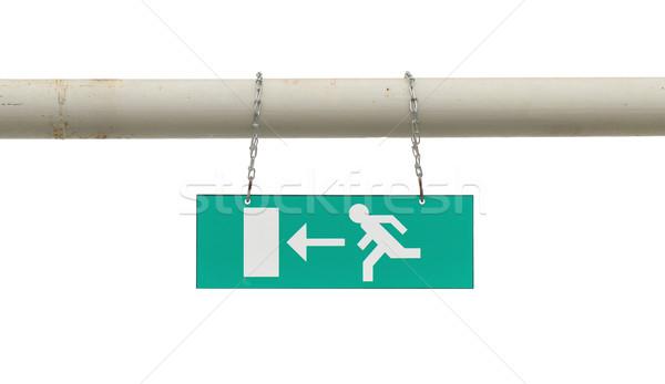 Grünen Notfall exit sign hängen alten Metall Stock foto © michaklootwijk