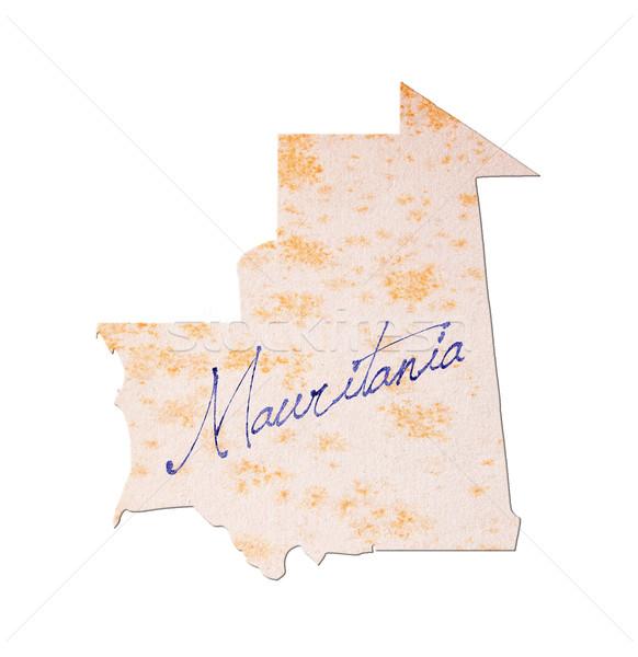 モーリタニア 古い紙 手書き 青 インク 旅行 ストックフォト © michaklootwijk