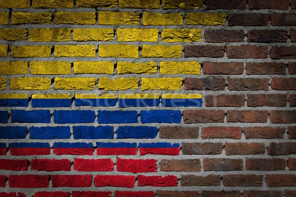 Karanlık tuğla duvar Kolombiya doku bayrak boyalı Stok fotoğraf © michaklootwijk
