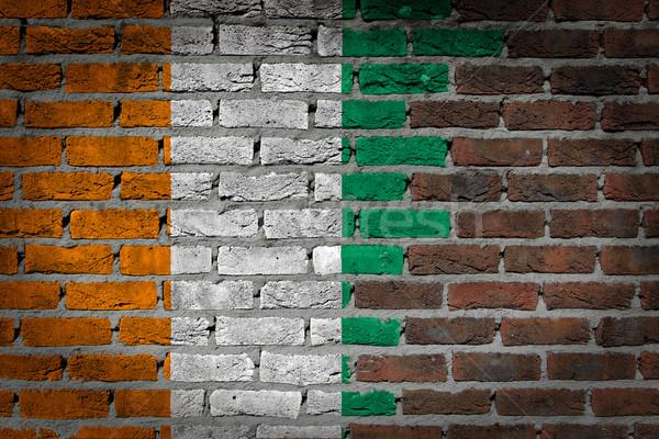 темно кирпичная стена Берег Слоновой Кости текстуры флаг окрашенный Сток-фото © michaklootwijk