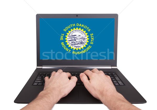 Eller çalışma dizüstü bilgisayar Güney Dakota ekran Stok fotoğraf © michaklootwijk