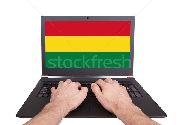 Kezek dolgozik laptop Bolívia mutat képernyő Stock fotó © michaklootwijk