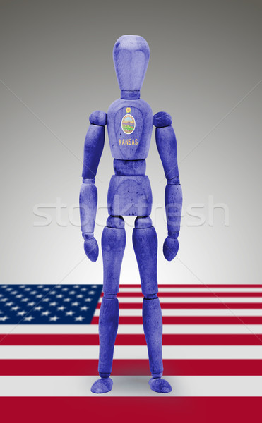 Wood figure mannequin with US state flag bodypaint - Kansas Stock photo © michaklootwijk