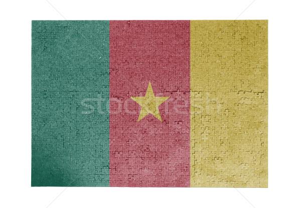 Nagy kirakós játék 1000 darabok Kamerun zászló Stock fotó © michaklootwijk