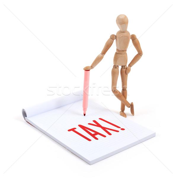 Houten etalagepop schrijven belasting plakboek business Stockfoto © michaklootwijk