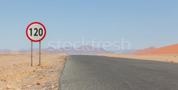 ограничение скорости знак пустыне дороги Намибия красный Сток-фото © michaklootwijk
