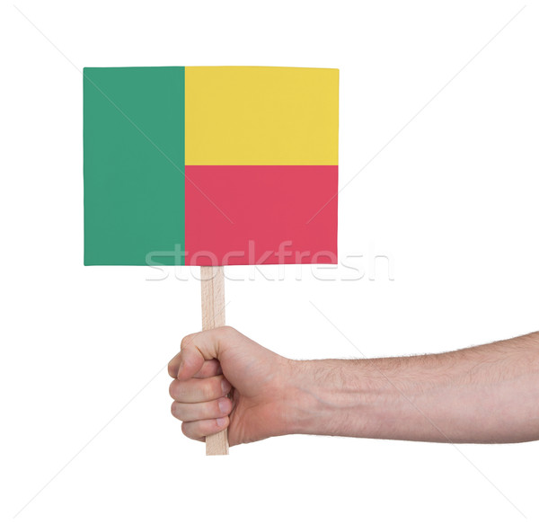 Hand holding small card - Flag of Benin Stock photo © michaklootwijk