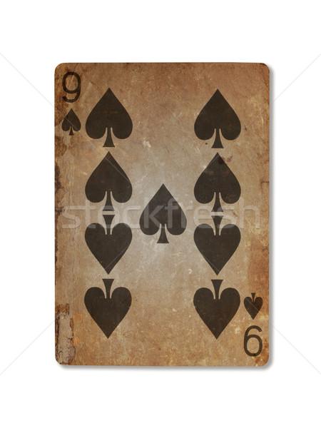 Vecchio giocare carta nove picche isolato Foto d'archivio © michaklootwijk