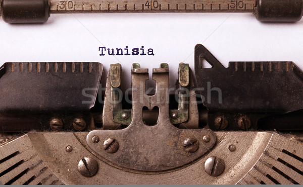 古い タイプライター チュニジア 碑文 ヴィンテージ 国 ストックフォト © michaklootwijk