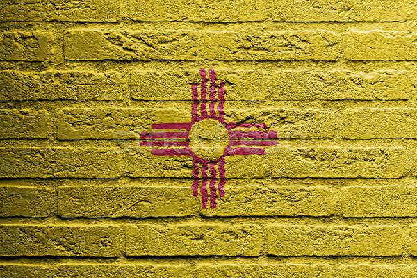 кирпичная стена Живопись флаг Нью-Мексико изолированный текстуры Сток-фото © michaklootwijk