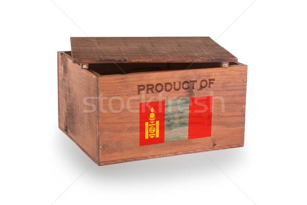 Stock fotó: Fából · készült · láda · izolált · fehér · termék · Mongólia