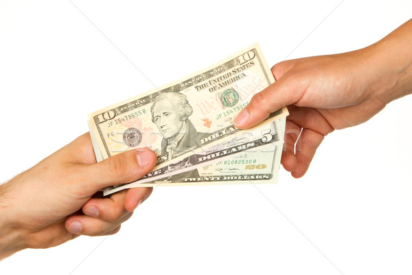 Umbuchung Geld Mann Frau isoliert weiß Stock foto © michaklootwijk